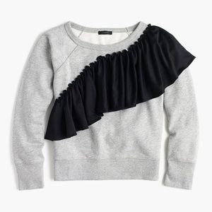 j.crew Asymetrical ruffle sweatshirt medium